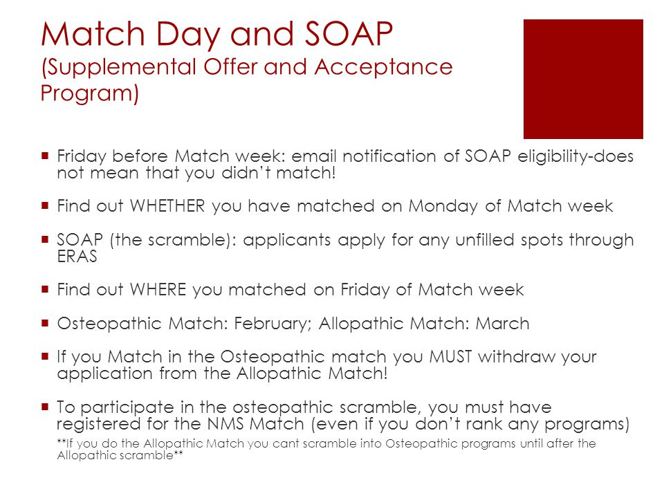 Match Day and SOAP (Supplemental Offer and Acceptance Program)