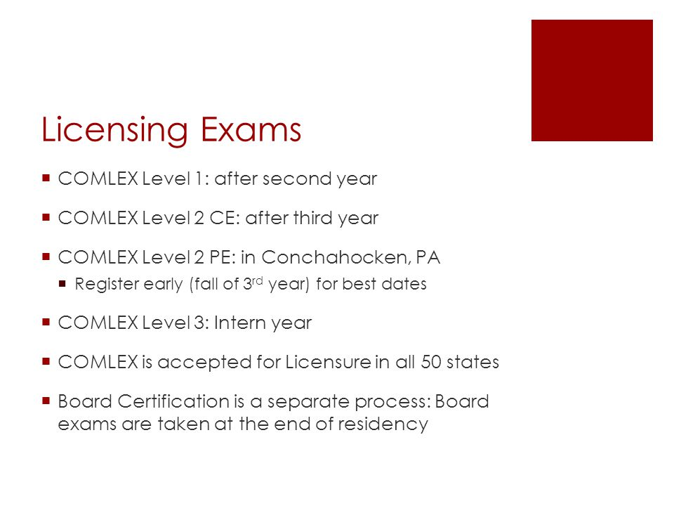 Licensing Exams COMLEX Level 1: after second year