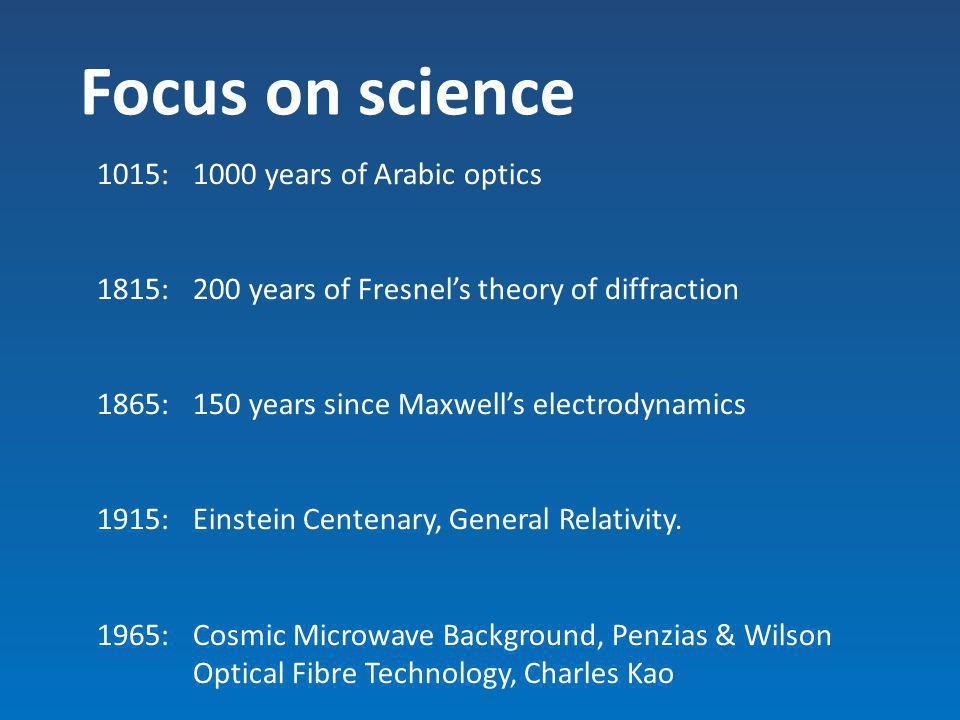 Focus on science 1015: 1000 years of Arabic optics