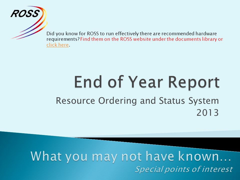 Resource Ordering and Status System 2013