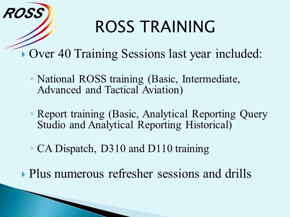 ROSS TRAINING Over 40 Training Sessions last year included: