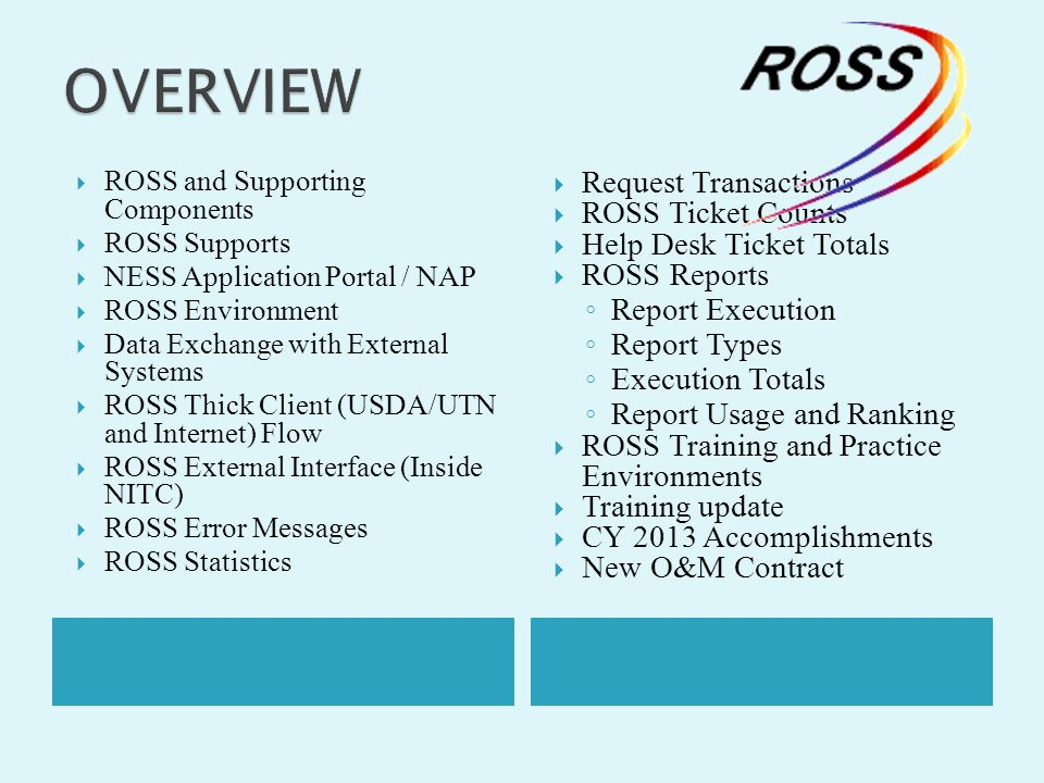 OVERVIEW Request Transactions ROSS Ticket Counts