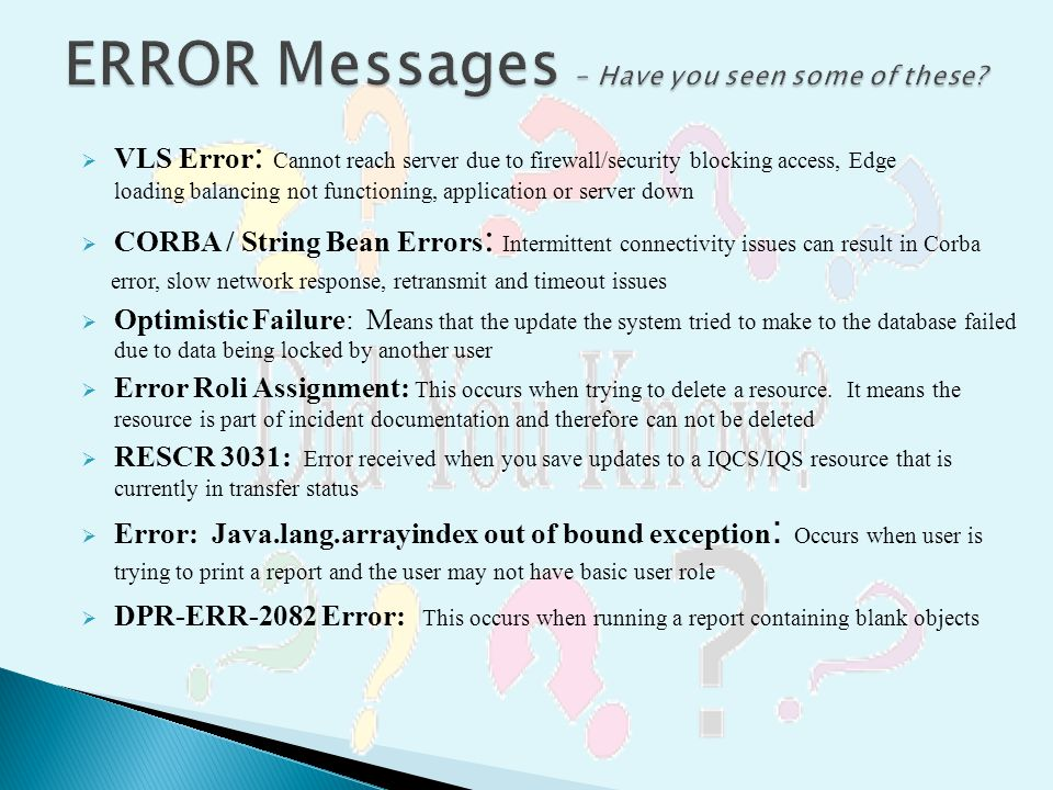 ERROR Messages – Have you seen some of these