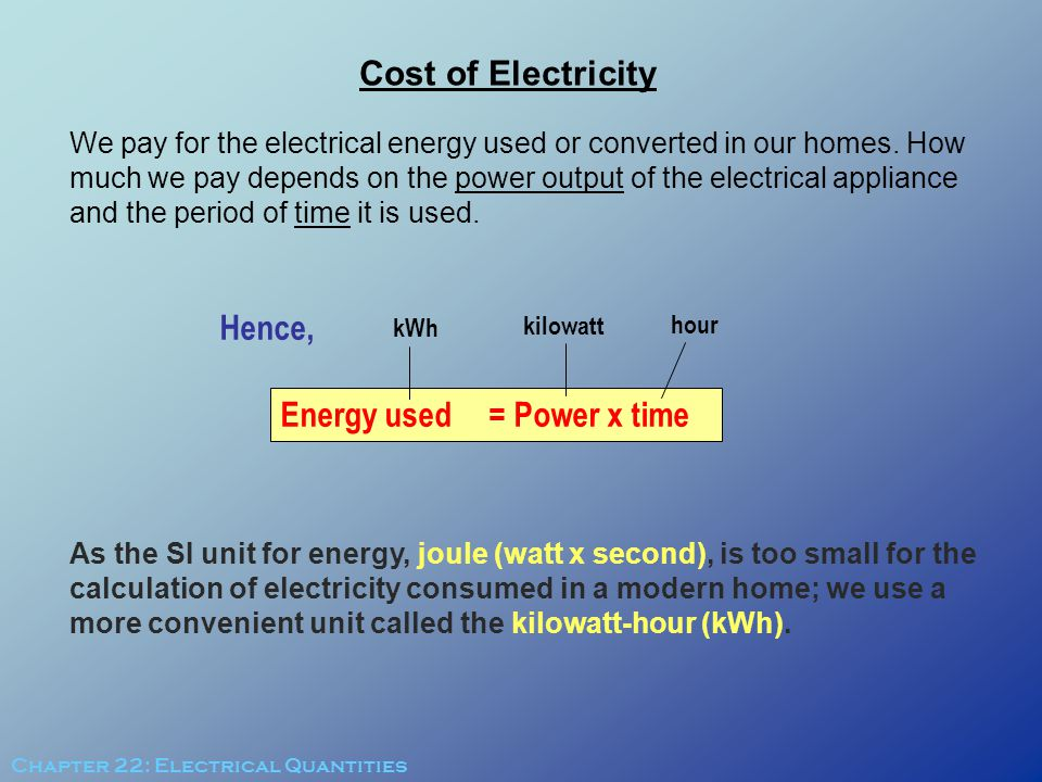 Energy used = Power x time