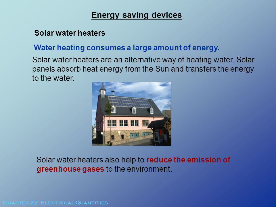Energy saving devices Solar water heaters