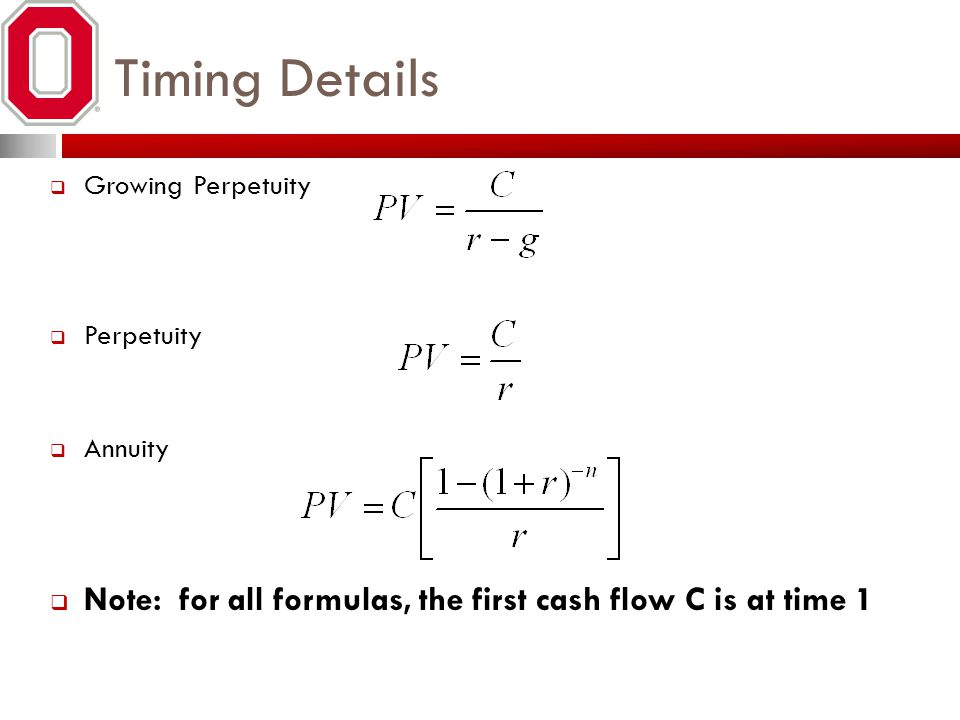 Timing Details Growing Perpetuity. Perpetuity. Annuity.
