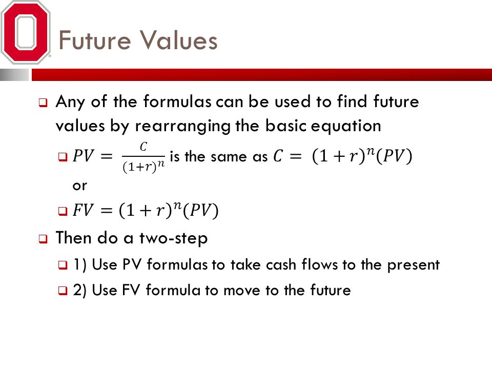 Future Values Any of the formulas can be used to find future values by rearranging the basic equation.