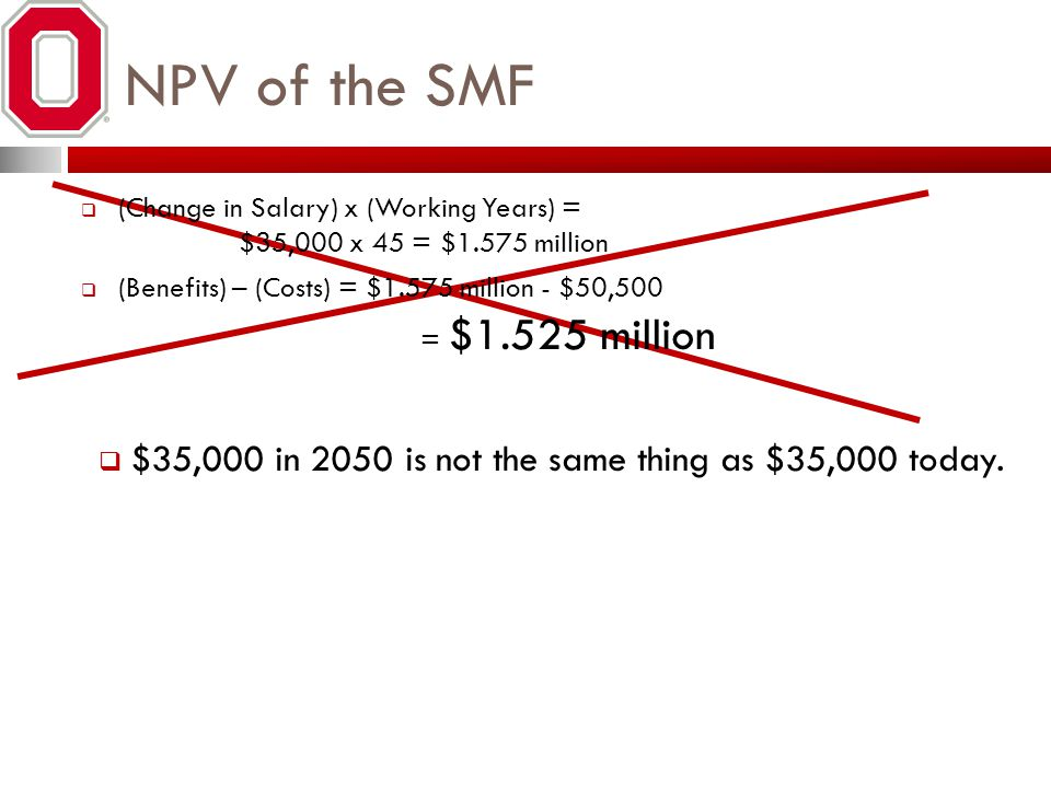 NPV of the SMF $35,000 in 2050 is not the same thing as $35,000 today.