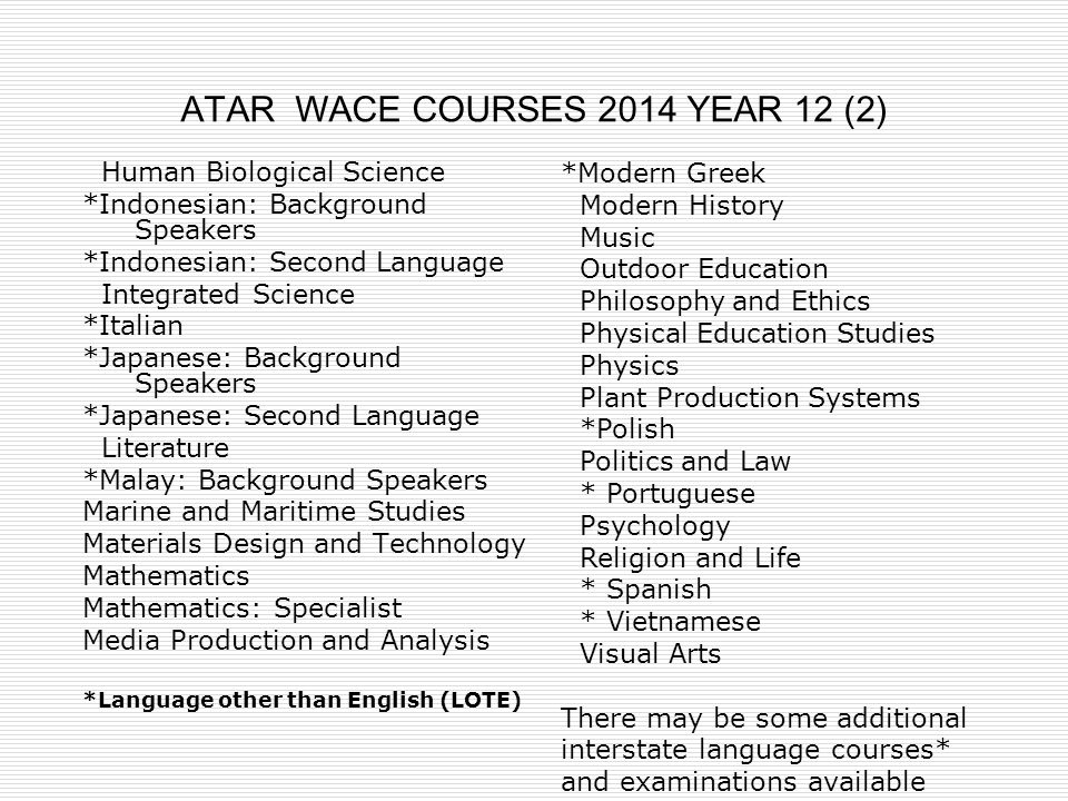 ATAR WACE COURSES 2014 YEAR 12 (2)