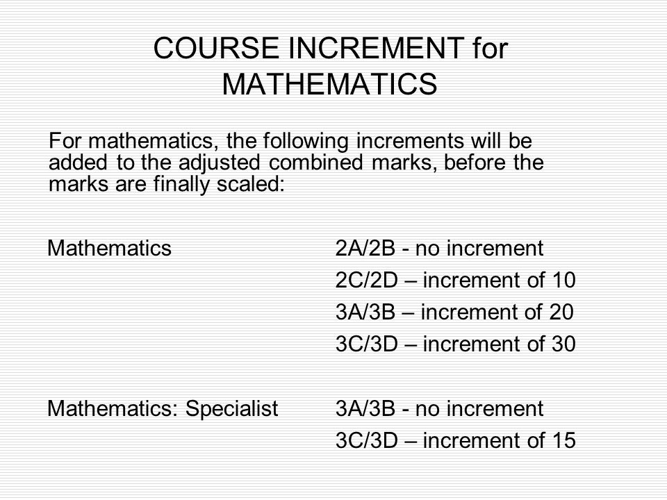 COURSE INCREMENT for MATHEMATICS