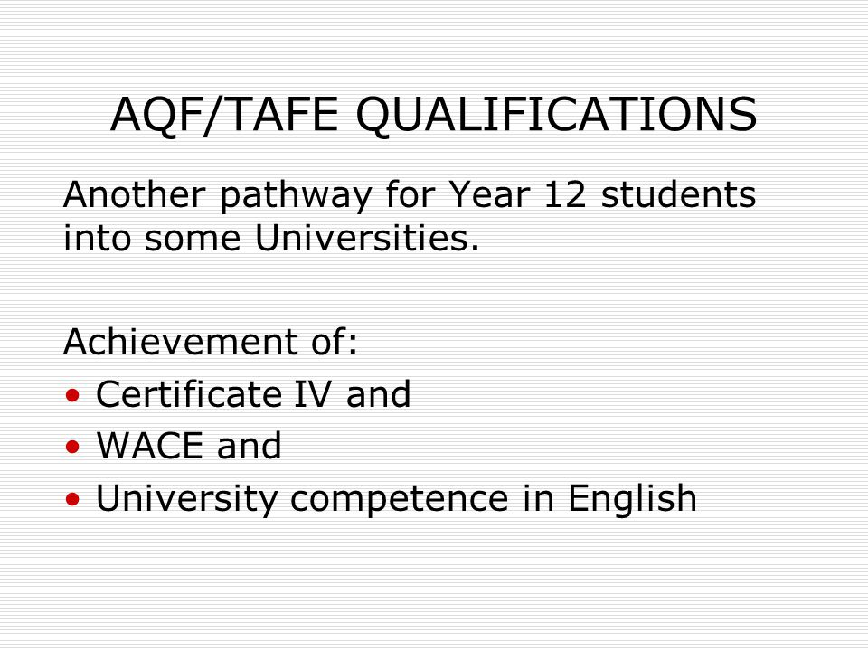 AQF/TAFE QUALIFICATIONS