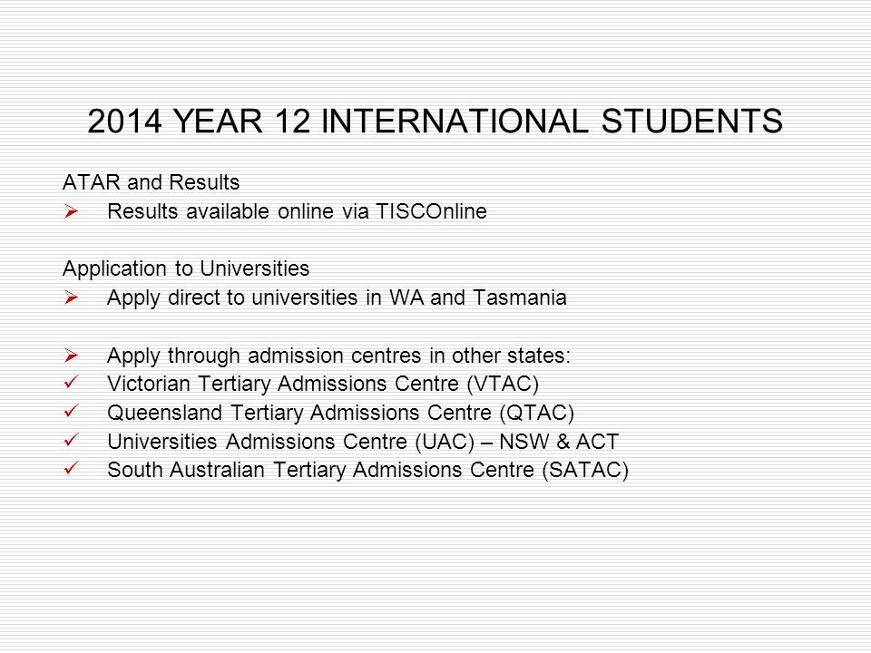 2014 YEAR 12 INTERNATIONAL STUDENTS