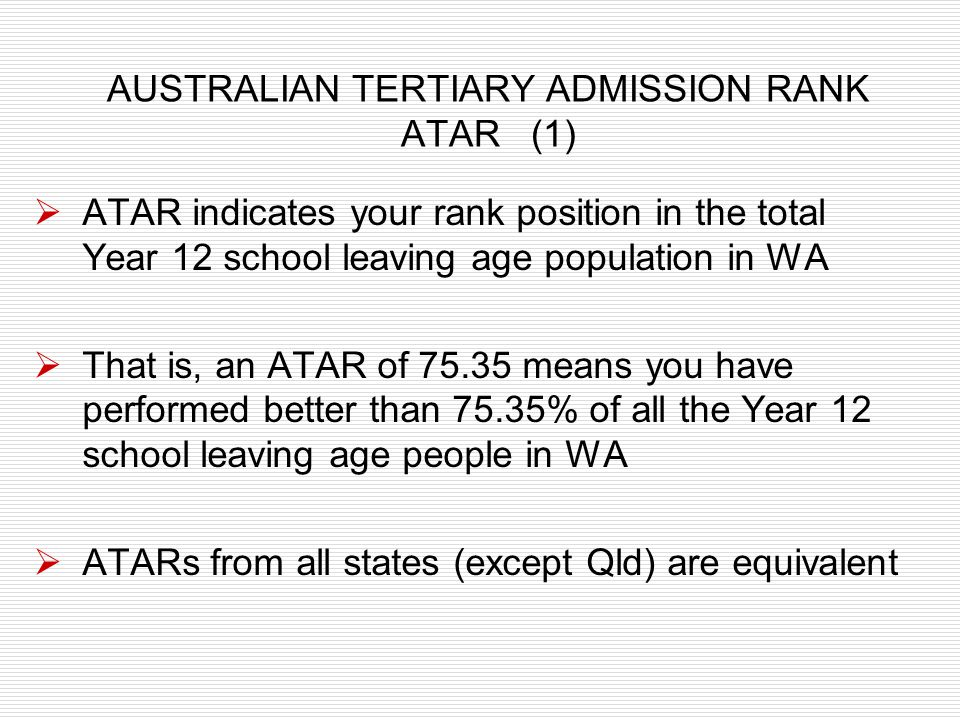 AUSTRALIAN TERTIARY ADMISSION RANK ATAR (1)