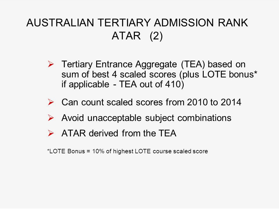 AUSTRALIAN TERTIARY ADMISSION RANK ATAR (2)