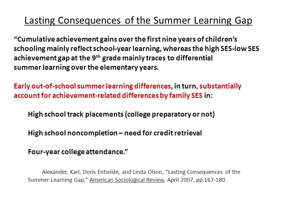 Lasting Consequences of the Summer Learning Gap