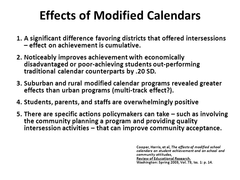 Effects of Modified Calendars