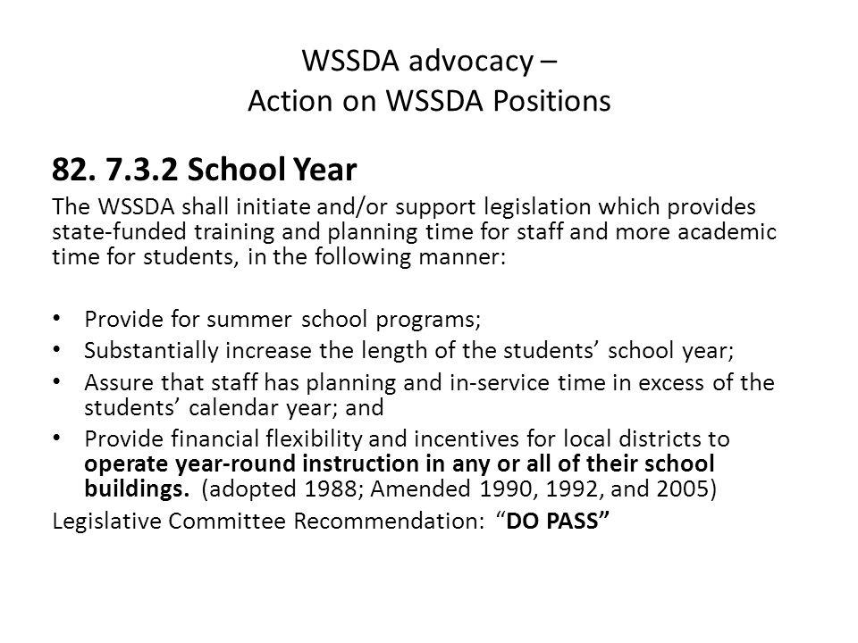 WSSDA advocacy – Action on WSSDA Positions