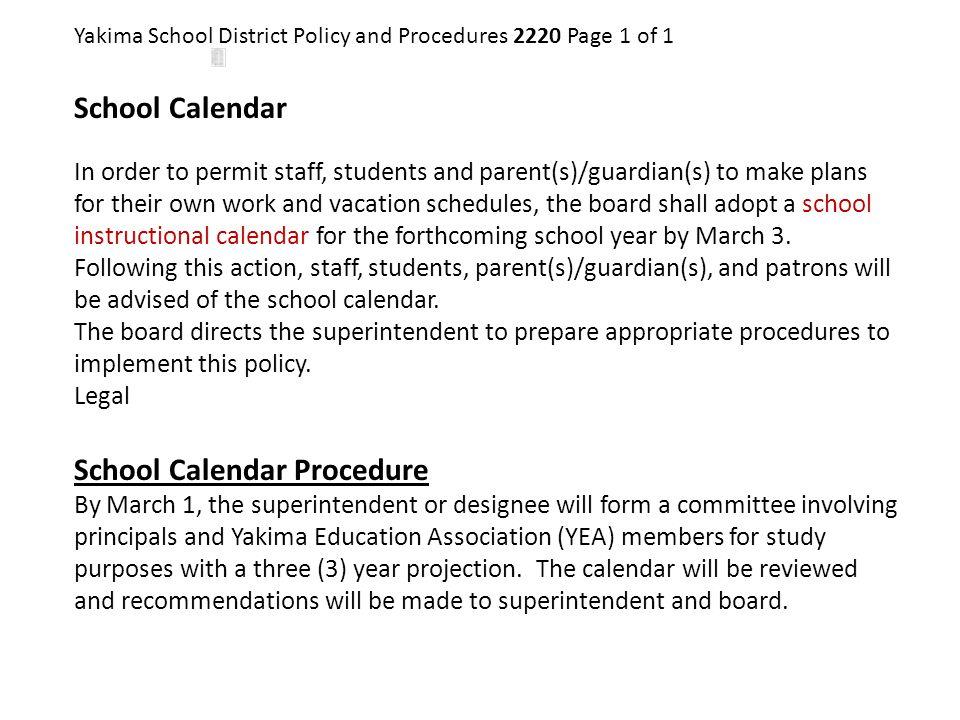School Calendar Procedure