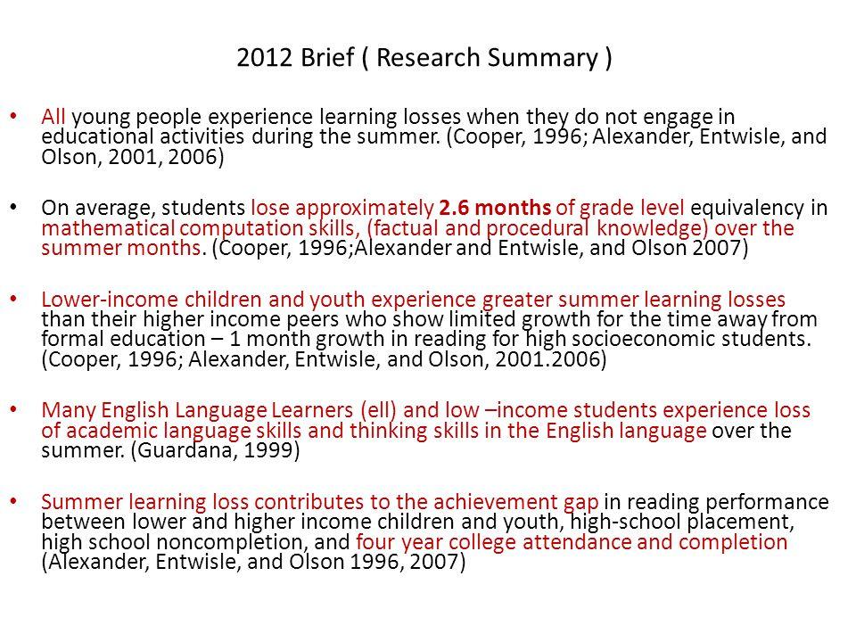 2012 Brief ( Research Summary )