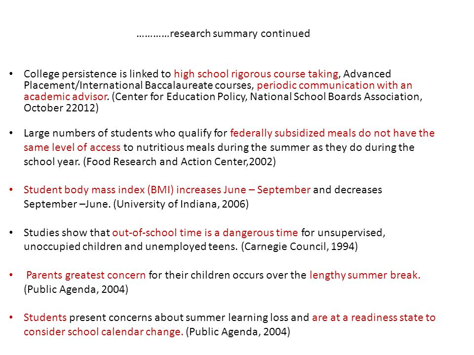 …………research summary continued