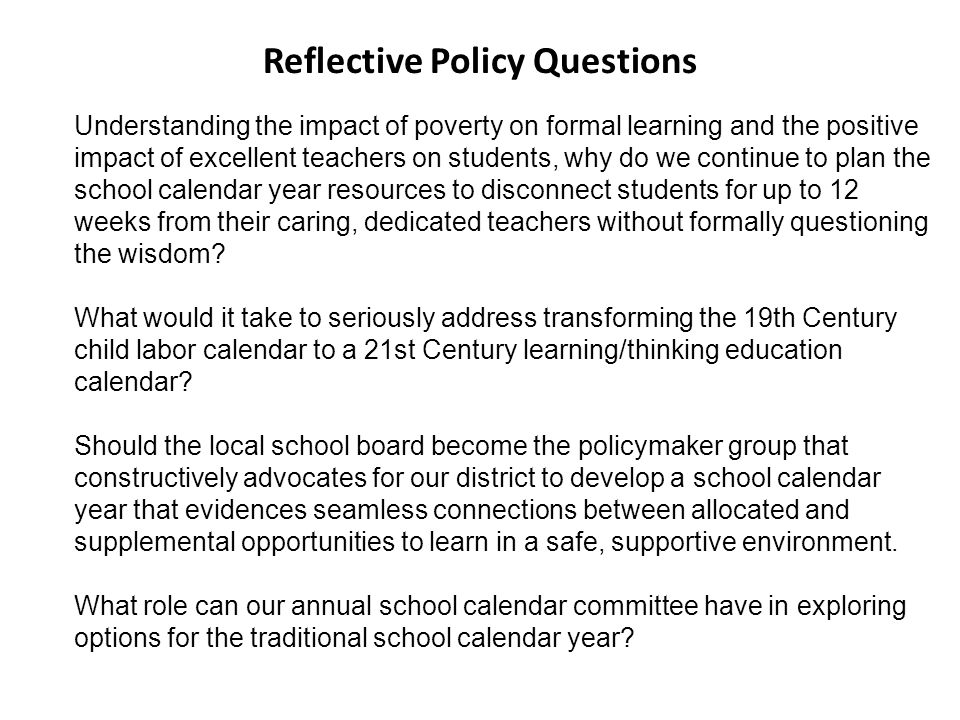 Reflective Policy Questions