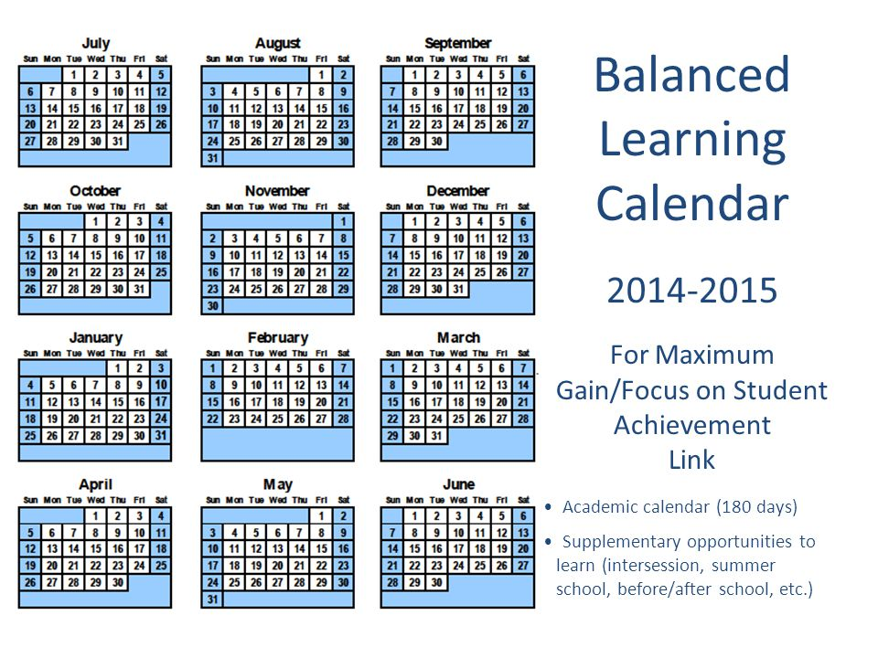 Balanced Learning Calendar