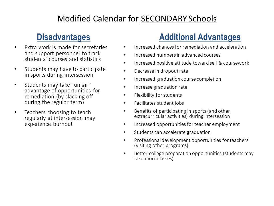 Modified Calendar for SECONDARY Schools