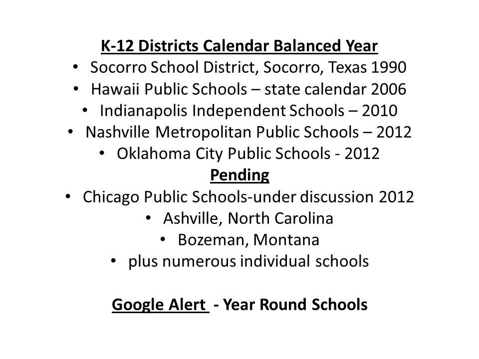 K-12 Districts Calendar Balanced Year