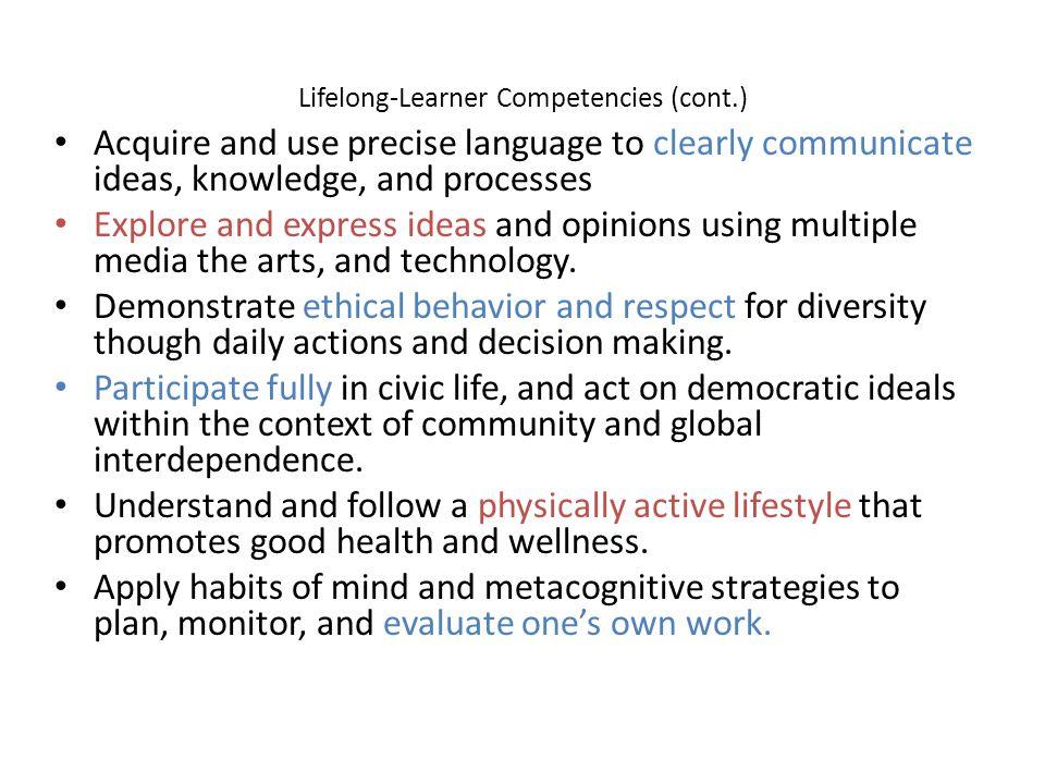 Lifelong-Learner Competencies (cont.)