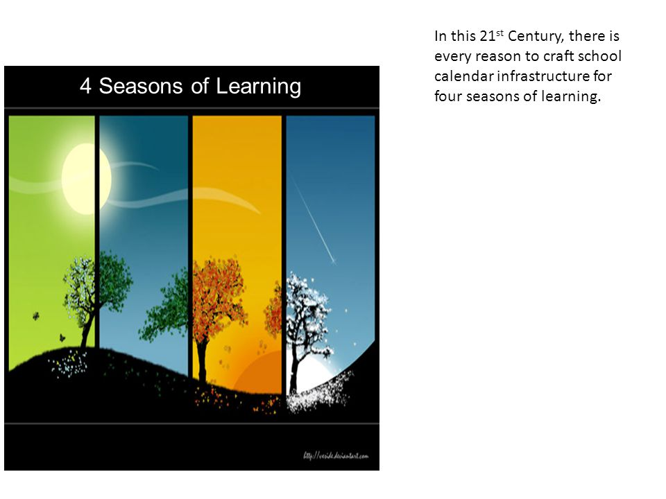 In this 21st Century, there is every reason to craft school calendar infrastructure for four seasons of learning.
