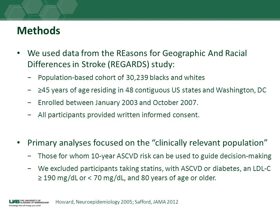 Methods We used data from the REasons for Geographic And Racial Differences in Stroke (REGARDS) study: