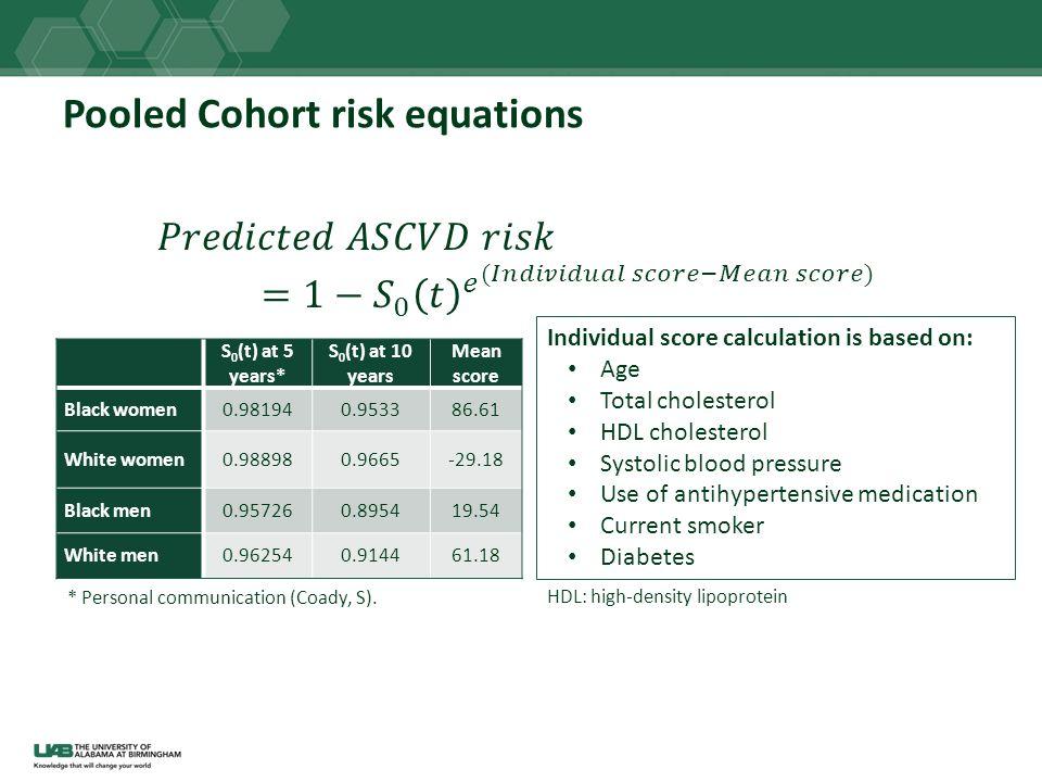 Pooled Cohort risk equations