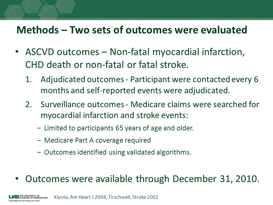Methods – Two sets of outcomes were evaluated