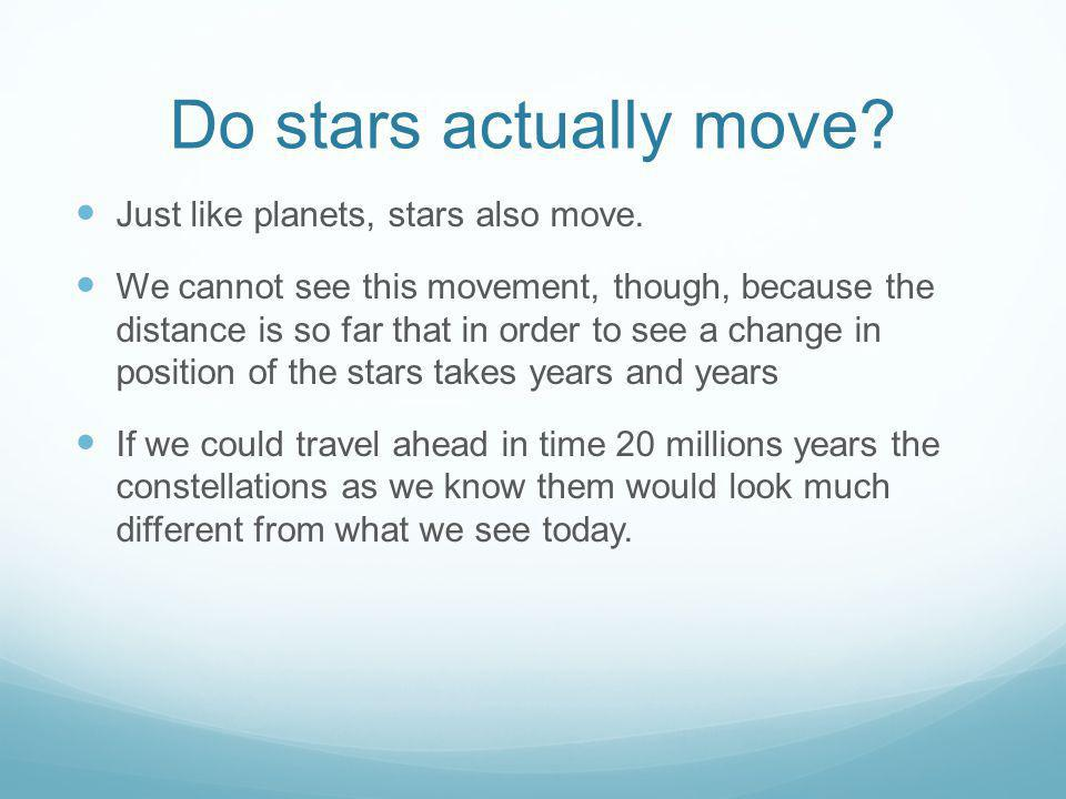 Do stars actually move Just like planets, stars also move.