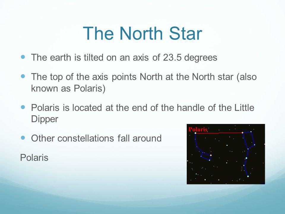 The North Star The earth is tilted on an axis of 23.5 degrees