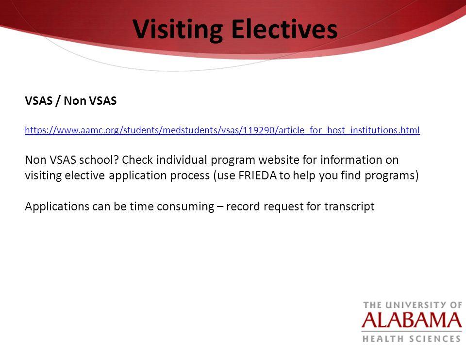 Visiting Electives VSAS / Non VSAS