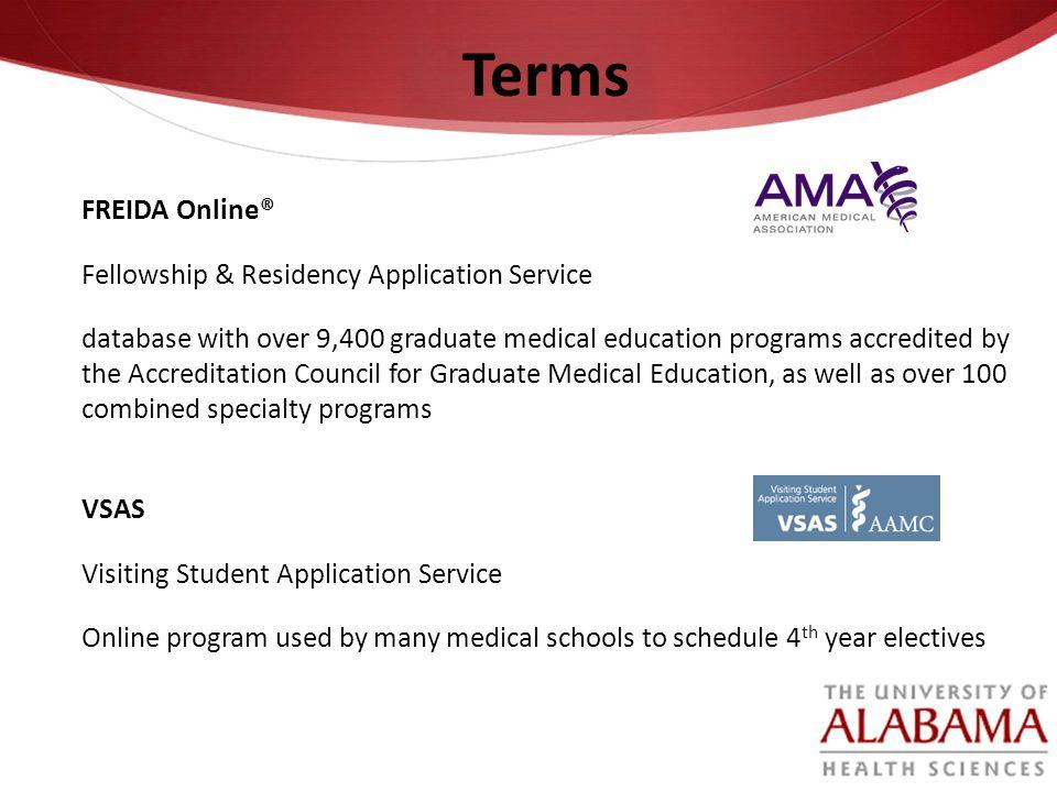 Terms FREIDA Online® Fellowship & Residency Application Service