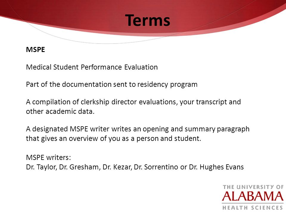 Terms MSPE Medical Student Performance Evaluation