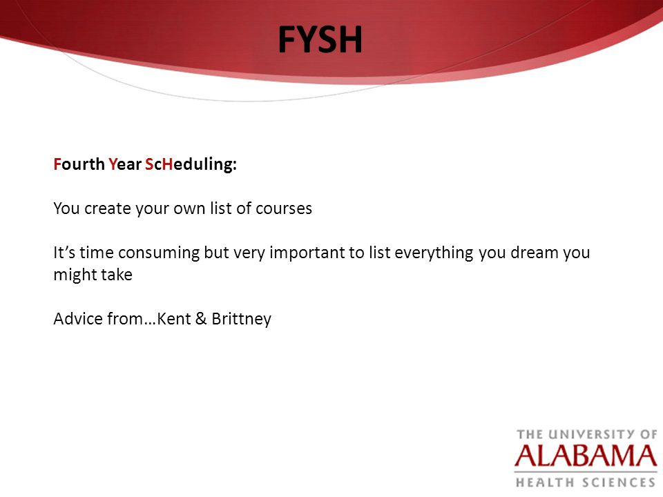 FYSH Fourth Year ScHeduling: You create your own list of courses