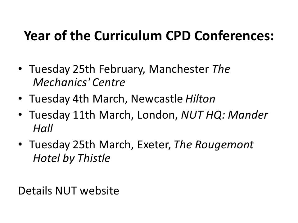 Year of the Curriculum CPD Conferences: