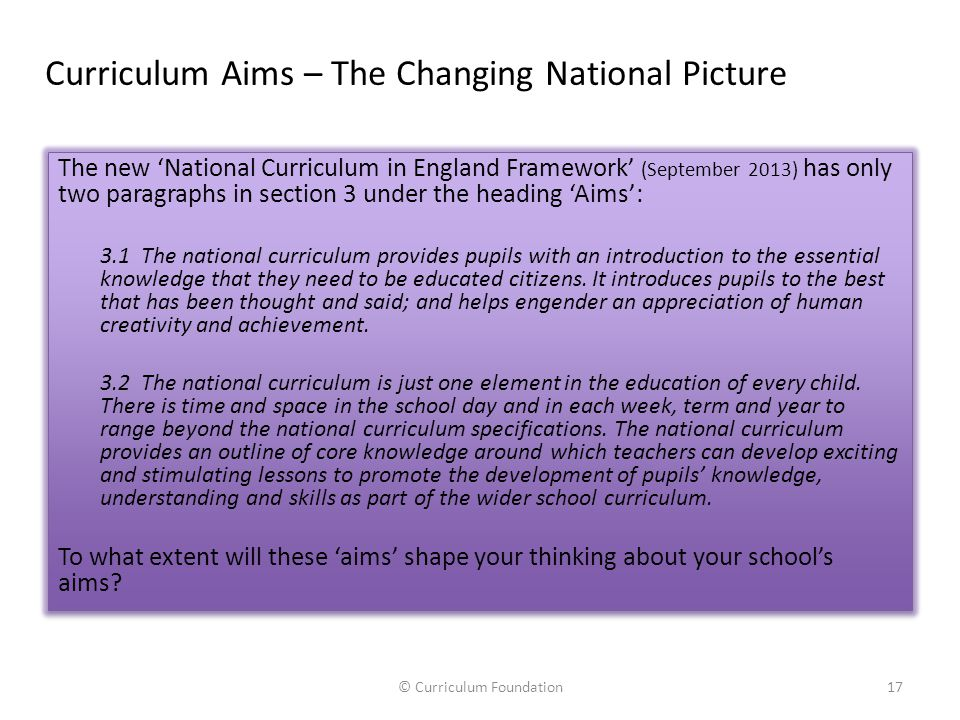 Curriculum Aims – The Changing National Picture