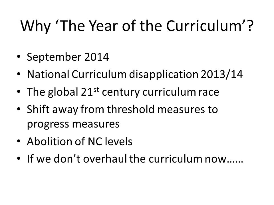 Why 'The Year of the Curriculum'