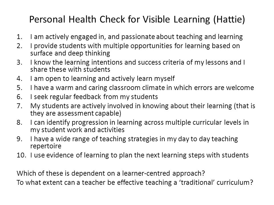 Personal Health Check for Visible Learning (Hattie)