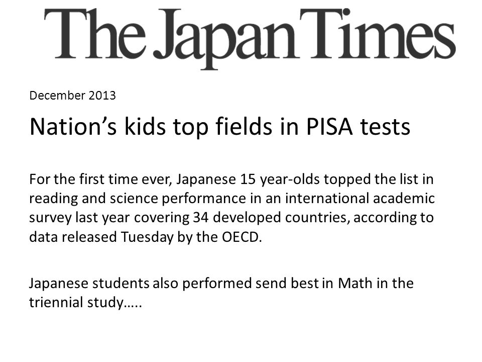 Nation's kids top fields in PISA tests