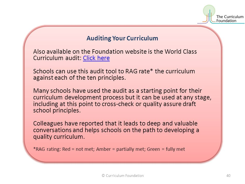 Auditing Your Curriculum