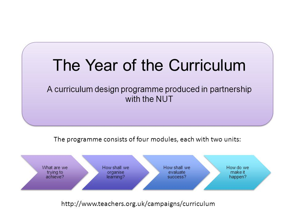 The Year of the Curriculum