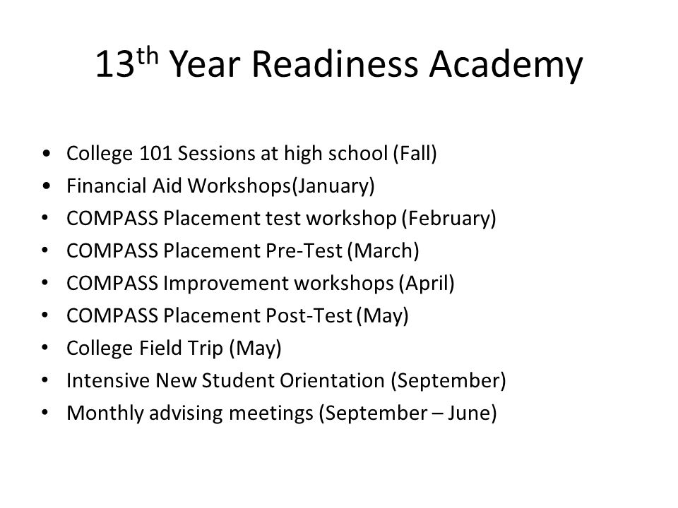 13th Year Readiness Academy