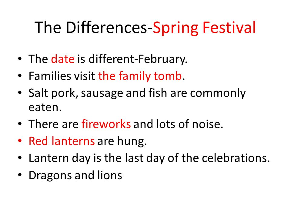 The Differences-Spring Festival