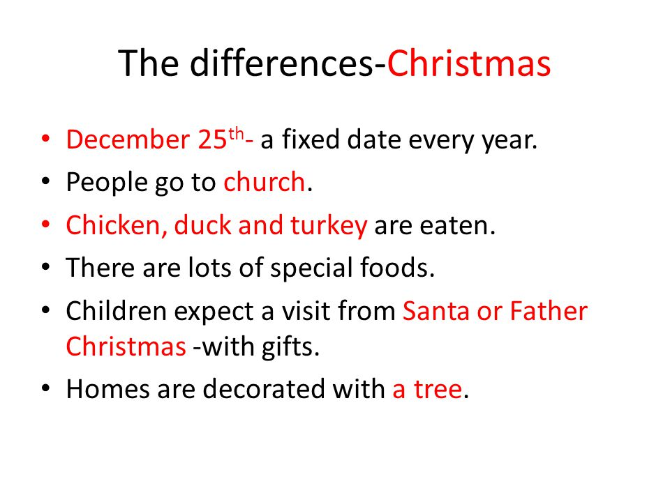 The differences-Christmas