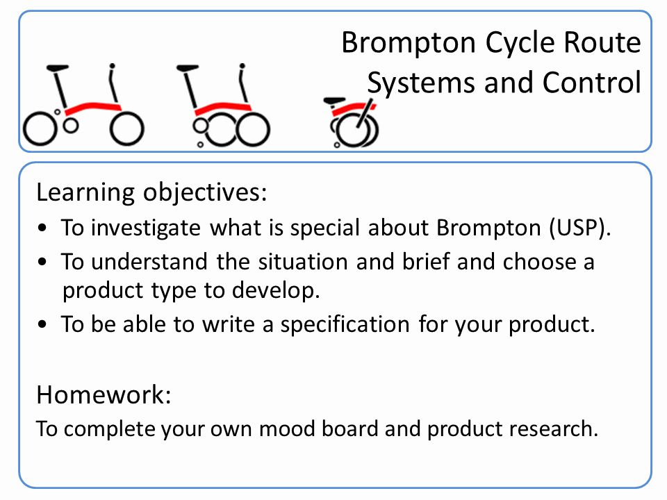 Brompton Cycle Route Systems and Control